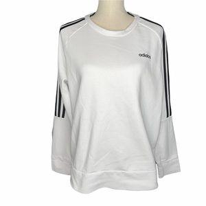 Adidas 3 Stripe White Crewneck Sweatshirt